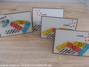 Glasklare Grüße, Heart Happyness, Stampin'Up!, Genesungskarte, Button, Pflaster