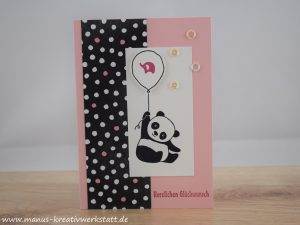 Party-Panda, Partyballons, kurz gefasst, Stampin'Up! Babykarte