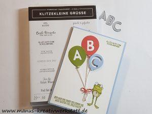 Klitzekleine Grüße, Buchstabenmix, Froschkönig, Stampin'Up!, Stanze Luftballon